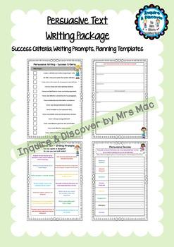 NAPLAN Persuasive Text - Templates - Persuasive Devices - Success Criteria