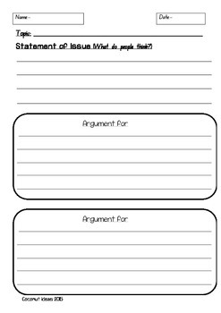 Persuasive Texts: Discussion- Writing Template
