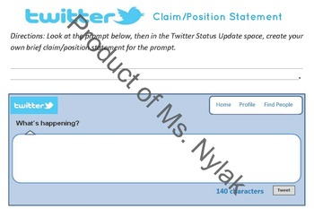 Persuasive Thesis Claim Position Statement Activity - Twitter