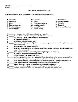Persuasive Unit Definitions Quiz