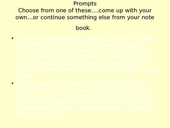 Persuasive Writer's Notebook Prompts