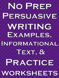 Persuasive Writing Activities Informational Text Reading C