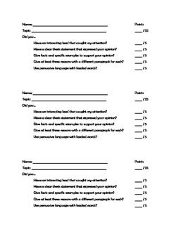 Persuasive Writing 25 Point Scoring Sheet