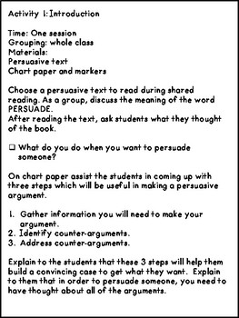 Persuasive Writing 3 Week Unit