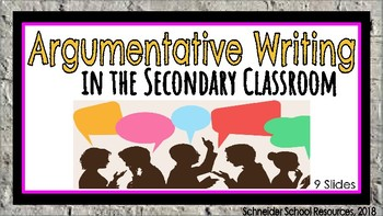Persuasive Writing: A Lesson for Middle and High School Classrooms