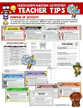 Persuasive Writing Bundle of Activities