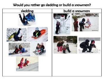 Persuasive Writing Activity sledding vs. build a snowman