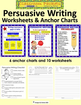 Persuasive Writing Anchor Chart and Worksheet Packet