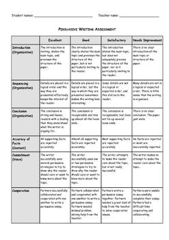 Persuasive Writing - Assessment Rubric
