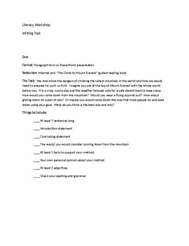 Persuasive Writing Assignment Task