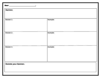 Persuasive Writing Brainstorming Template (OREO)