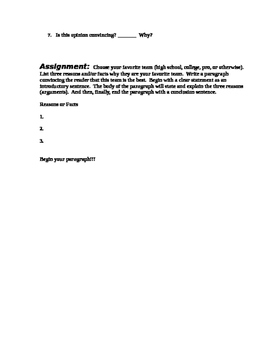 Persuasive Writing - COMMON CORE Paragraph Structure Assignment 1