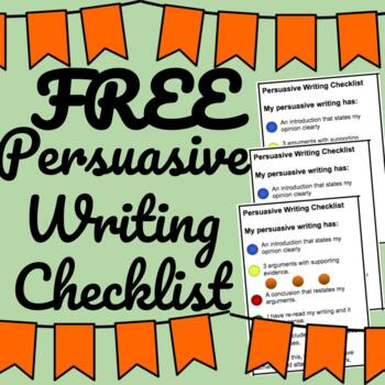 Persuasive Writing Checklist {Self-Assessment}