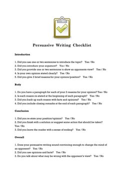 Persuasive Writing Checklist