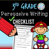 Persuasive Writing Checklist (3rd grade standards-aligned) - PDF and digital!!