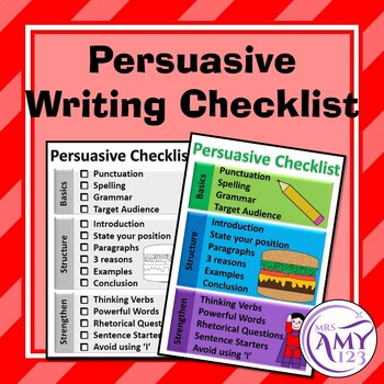 Persuasive Writing Checklist- FREE