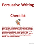 Persuasive Writing Checklist for Grades 8-12