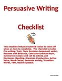 Persuasive Writing Checklist for Grades 8-12