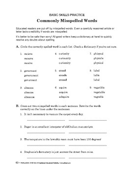 Persuasive Writing: Commonly Misspelled Words/ Final Project: Persuasive Essay