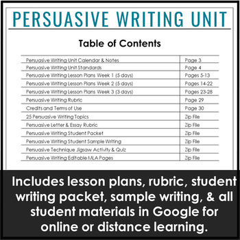 Persuasive Writing Unit with Lesson Plans and Sample Student Writing