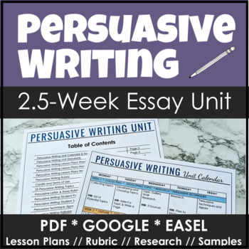 Persuasive Writing Unit with Lesson Plans and Sample Stude