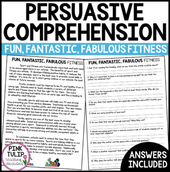Persuasive Writing Comprehension - Fun, Fantastic, Fabulous Fitness