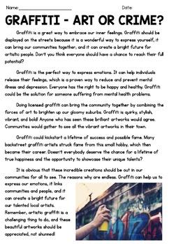 Persuasive Writing Comprehension - Graffiti, Art or Crime?