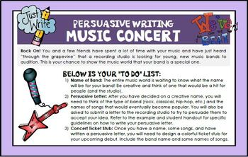 Persuasive Writing Music Concert