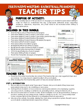 Persuasive Writing Create Basketball Franchise