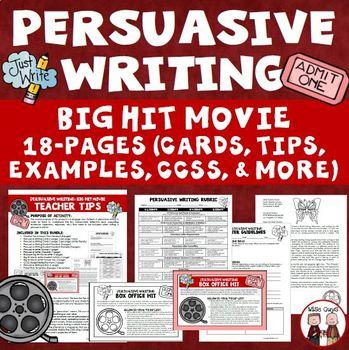Persuasive Writing Activity Create Own Hit Movie Idea