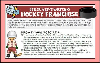 Persuasive Writing Create Own Hockey Franchise