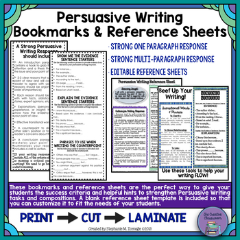 Persuasive Writing Criteria Bookmarks and EDITABLE Reference Sheets