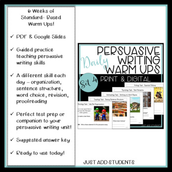 Persuasive Writing: Daily Editing Practice  -- Set 4 Writing Warm Ups