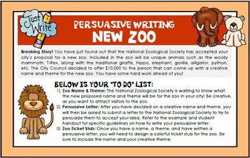 Persuasive Writing Design Zoo Exhibit