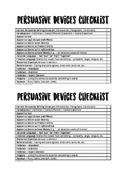 Persuasive Writing Devices Checklist