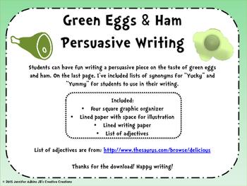 Persuasive Writing: Do you like green eggs and ham?