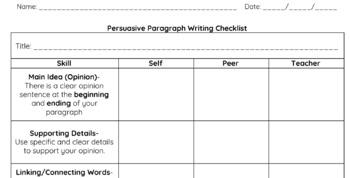 Persuasive Writing Editing Checklist