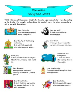 Persuasive Writing: Fairy Tale Letters