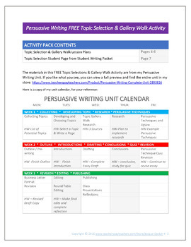 Persuasive Writing Free Activity for Topic Selection & a Gallery Walk