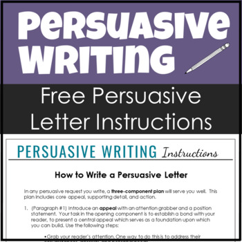 Samples of persuasive letter teaching resources teachers pay teachers free persuasive writing instructions on how to write a persuasive letter spiritdancerdesigns Gallery