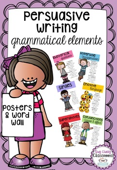 Persuasive Writing Grammatical Elements-Posters & Word Wall