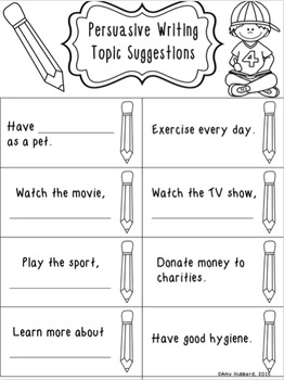Persuasive Writing Graphic Organizer and Prompts