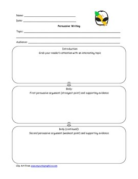 Persuasive Writing Graphic Organizer - Adapted Version Included