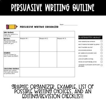 Persuasive Writing - Graphic Organizer, Prompts, Editing Checklist, & Example!