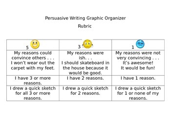 Persuasive Writing Graphic Organizer and Student (Friendly) Rubric