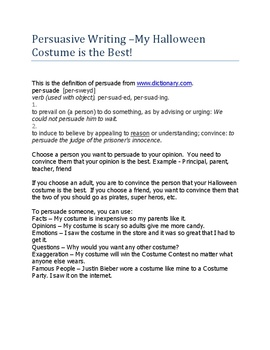 Persuasive Writing – My Halloween Costume is Best!