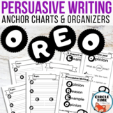 OREO Opinion Writing Anchor Charts & Graphic Organizers with Reasons & Examples