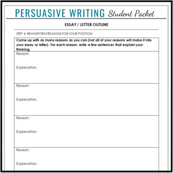 Persuasive & Argumentative Writing Outline, Letter Sample & Drafting Pages