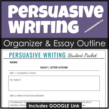 Persuasive Writing Outline With Essay Organizer, Letter Sa