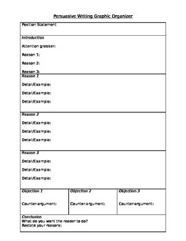 Persuasive Writing Outline Graphic Organizer